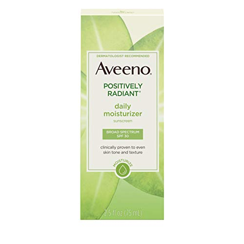 Aveeno Positively Radiant Daily Facial Moisturizer with Total Soy Complex and Broad Spectrum SPF 30 Sunscreen, Oil-Free and Non-Comedogenic, 2.5 fl. oz (Aveeno Radiant Spf 15)