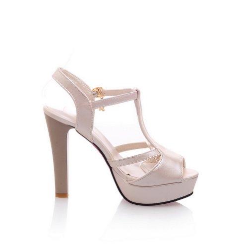 Balamasa Sandal Buckle apricot Shoes Balamasa Womens Womens High Heels Buckle Solid TqCAE