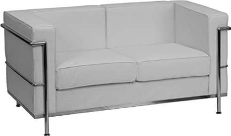 Wondrous Flash Furniture Hercules Regal Series Contemporary Melrose White Leather Loveseat With Encasing Frame Pabps2019 Chair Design Images Pabps2019Com