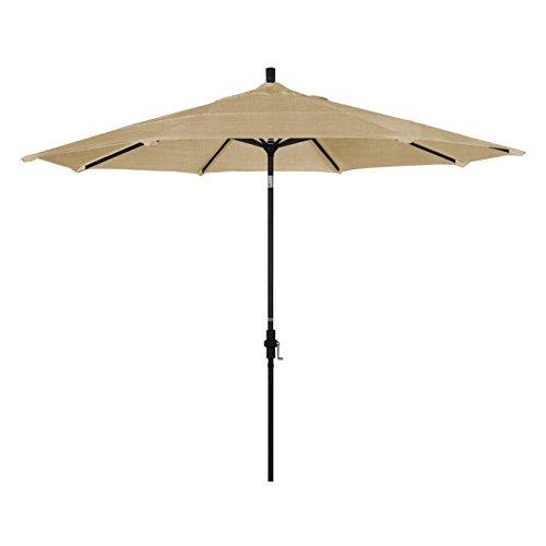 California Umbrella 11' Round Aluminum Market Umbrella, Crank Lift, Collar Tilt, Black Pole, Sunbrella Linen Sesame