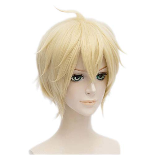 Wgior Anime Natural as Real Hair Styled Synthetic Halloween Cosplay Costume Party Daily Short Wigs (blonde5) ()