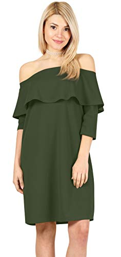 Womens 3/4 Sleeve Reg and Plus Size Off The Shoulder Cocktail Dress Ruffle Shift Dress - Made in USA (Size XXX-Large US 20-22, Olive Green)