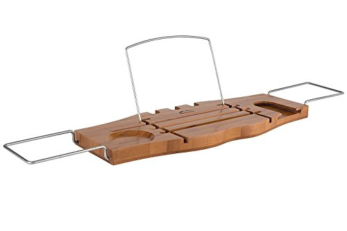 Natural Bamboo Wood Luxury Bath Caddy Tray Spa Organizer by AllSome Home With Extending Sides