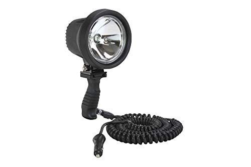 6 Million Candlepower Spotlight with Handle, 12 foot Coil Cord and Cigarette Plug - 12/24 Volts DC(-24 volts-Euro-16' Cig) (Cigarette Plug Spotlight)