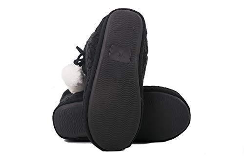 Pom Effetto Ragazze Pantofole Donna Pantofola Con Poms Tessuto Nero Le Airee Signore Maglia Fairee nPNwkX8O0