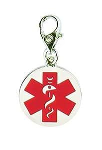Stainless Steel Medical Alert ID Charm / Zipper Pull