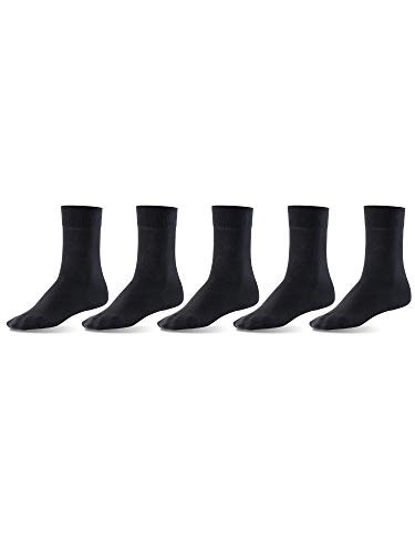 Mat & Vic's Men's Dress Socks, European, Cotton, Classic Crew, also Women's Sizes, 5-pack Black ()