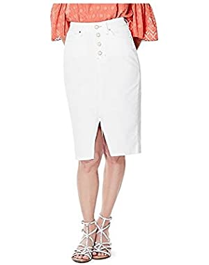 GUESS Women's Luzy Button-Front Ever White Wash Denim Skirt