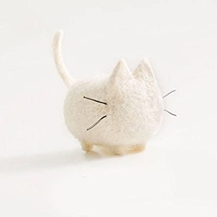 TALENTBABY - DIY Needle Felting Kit Needlecrafts Faceless Cat - White and Grey