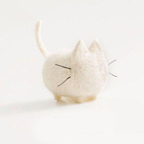 TALENTBABY - DIY Needle Felting Kit Needlecrafts Faceless Cat - White