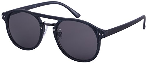 Edge I-Wear Retro P3 Horned Rim Brow Bar Frame Wood Temple Sunglasses 540990WD-SD-1(BLKWD) (Brow Bar)