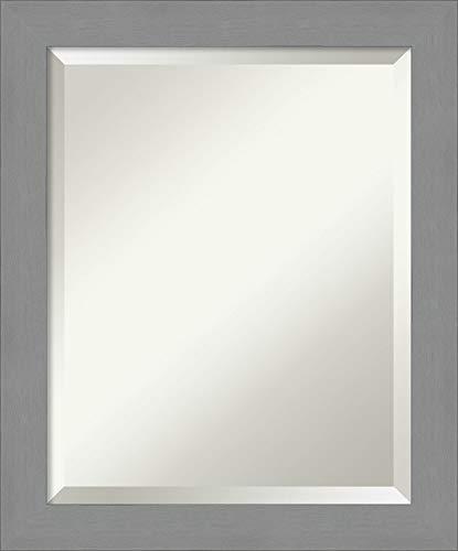 Amanti Art Vanity Bathroom Brushed Nickel Frame | Wall Mounted Mirror, Glass Size 16x20