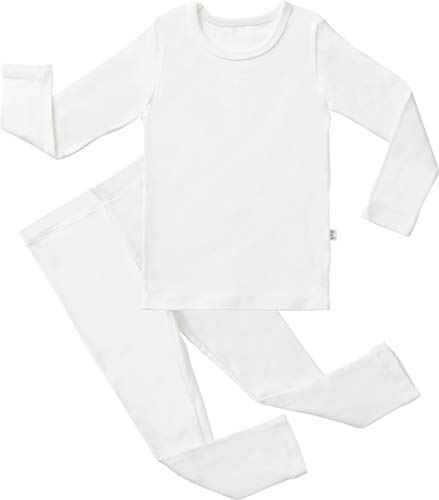 AVAUMA Baby Boys Girls Solid Pring Pj Set Kids Pajamas Long Sleeve Cotton (E-Ivory JL(140)/7T)