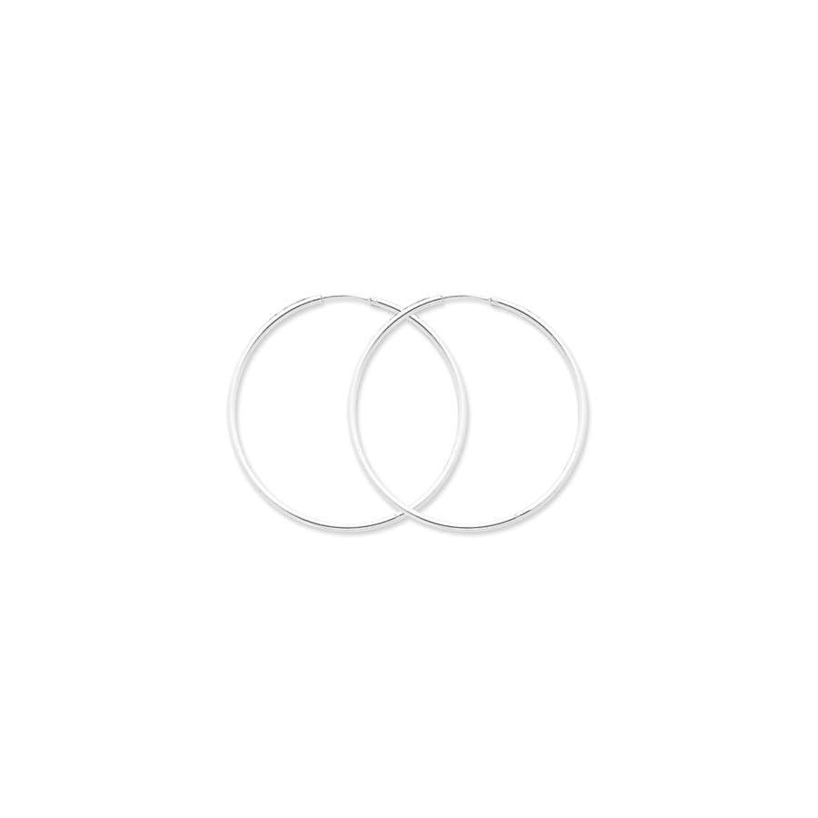 2mm, Sterling Silver, Endless Hoop Earrings 70mm (2 3/4 Inch)