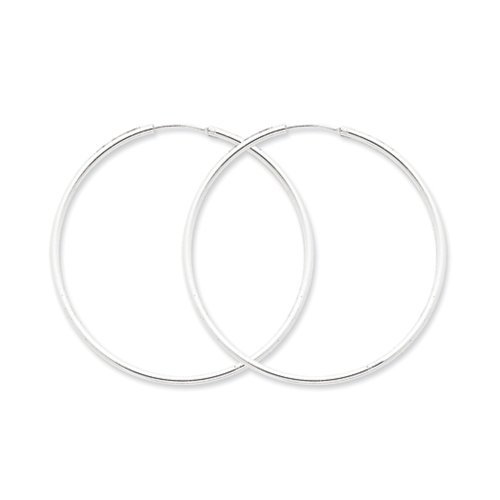 2mm, Sterling Silver, Endless Hoop Earrings 70mm (2 3/4 Inch)