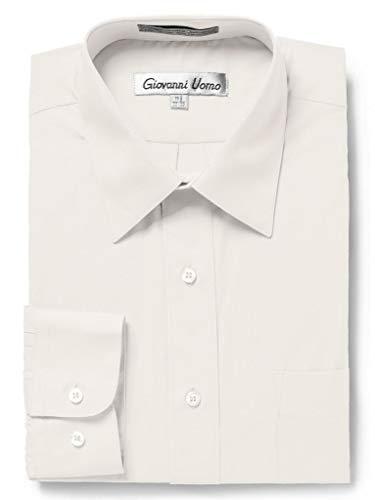 (Gentlemens Collection Men's Slim Fit Long Sleeve Solid Dress Shirt - Ecru - 17 6-7)
