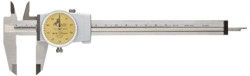 Sharpe Dial Caliper (Brown & Sharpe 75.115821 Dial Caliper, 0 to 150mm Range, 0.02mm Graduations, Stainless Steel, DIN 862, Yellow Face, Flat Depth Rod)