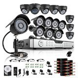 ZMODO 16CH H.264 DVR Home Surveillance Camera System 8 Bullet 8 Dome Indoor/Outdoor 600TVL Security Cameras 1TB HDD