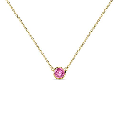 TriJewels Round Pink Sapphire 0.15 ct Bezel Set 3.4mm Womens Solitaire Pendant Necklace 14K Yellow Gold with 16 Inches Gold Chain
