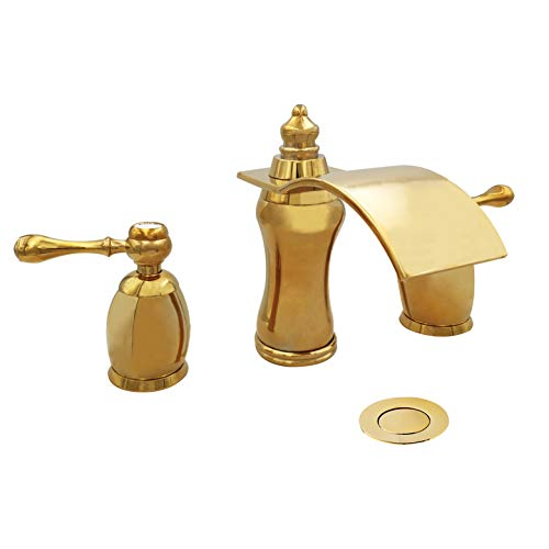 Wovier Shiny Polished Gold 8-16 Inch Widespread Waterfall Bathroom Sink Faucet,Two Handle Three Hole Lavatory Faucet,Basin Mixer Tap With Pop Up Drain,French Gold - French Gold Drain Finish