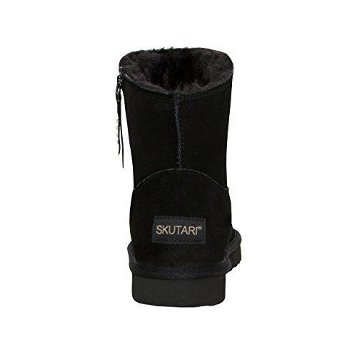 LOCO GERMANY SKUTARI - Wildleder Damen Frauen Winter-Boots | Extra Weich & Warm Gefüttert | Schlupf-Stiefel mit Stabiler Sohle | Pailletten Glitzer Meliert Zipper Schwarz