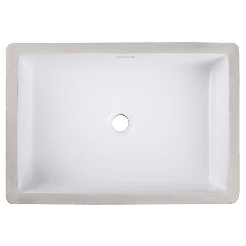 Enbol ECU1912 White Rectangular Undermount Porcelain Vitreous Ceramic Lavatory Bathroom Sink, Vanity Top Sinks with Overflow