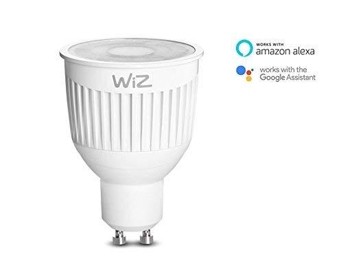 Bombilla LED WiZ inteligente con conexión WiFi, luz blanca, GU10. Regulable, 64.000 tonos de blanco. Funciona con Amazon Alexa y Google Home.