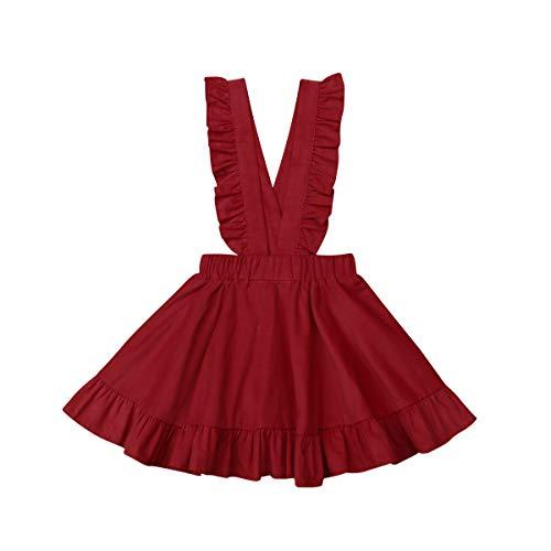 Toddler Tutu Dress Infant Sleeveless Vest Skirt Baby Backless Cute Romper for Girl Ruffle Skirt, Ages for 6Mos-5T (Red, 5-6 T)