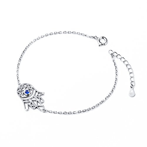 ALPHM S925 Sterling Silver Lucky Khamsa Hamsa Hand Palm Adjustable Bracelet for Women Girl Jewelry