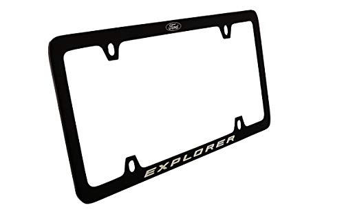 Ford Explorer with Logo Thin Rim Black Powder Coated Metal License Plate Frame Holder