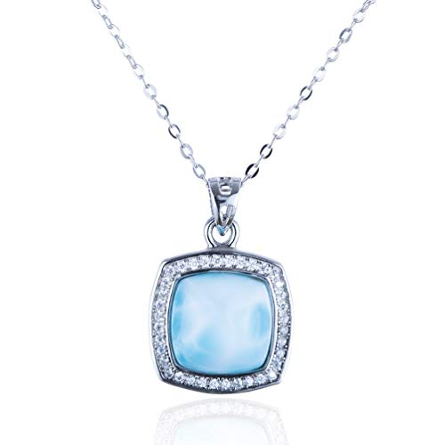 "Tuoke 925 Sterling Silver Larimar Necklace, 14K White Gold Plated Silver Natural Gemstones Women Jewelry with 16"" Chain (Square)"