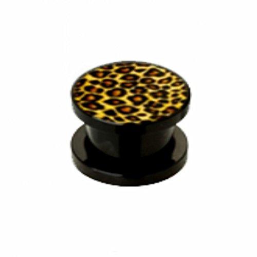 Plug–Acrylique–Guépard (Piercing Tunnel oreille Plug pour lobe d'oreille lobes tubes Noir)