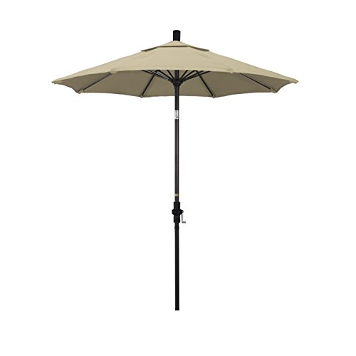 California Umbrella 7.5' Round Aluminum Pole Fiberglass Rib Market Umbrella, Crank Lift, Collar Tilt, Bronze Pole, Beige