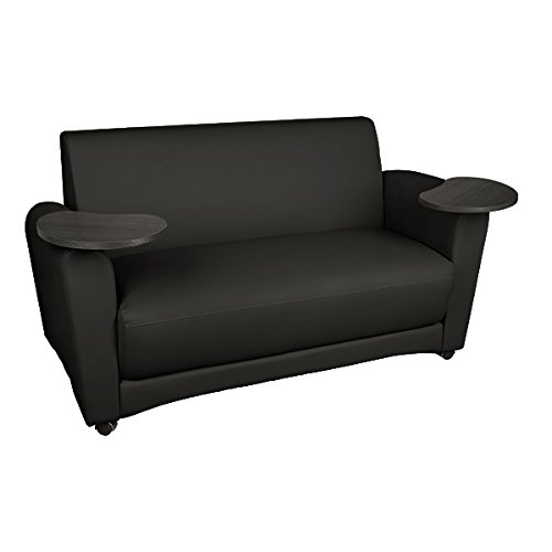 Learniture Common Area Sofa with Tablet Arms, Black/Tungsten, LNT-1007BKT-PK-SO