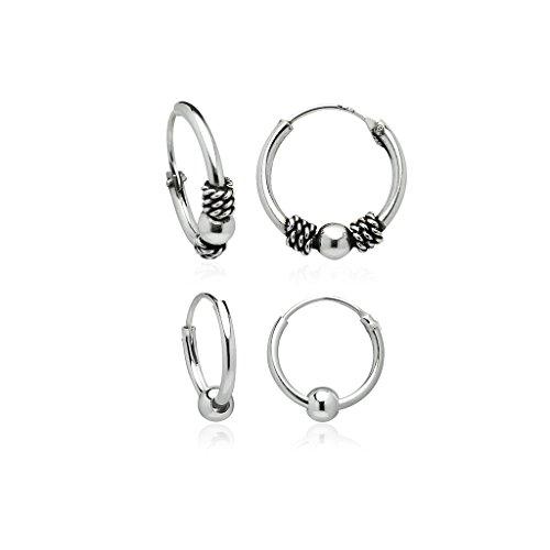 Sterling Silver Bali Rope (Sterling Silver Set of 12mm Tight Rope Bead Hoop Earrings and 10mm Endless Bead Hoop)