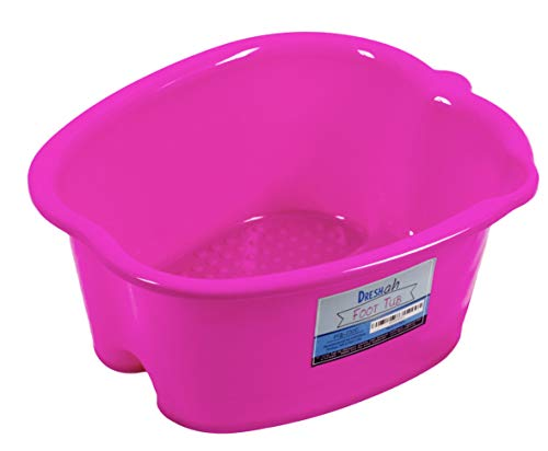 Pink Foot Bath Spa Tub – Large Thick Sturdy Plastic Foot Basin for Pedicure, Message – It's Perfect to Soak Your Feet, Toe Nails, and Ankles