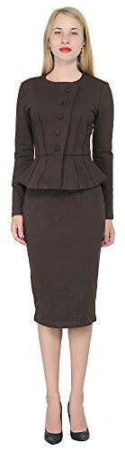 Marycrafts Women's Formal Office Business Shirt Jacket Skirt Suit 14 Dark Brown