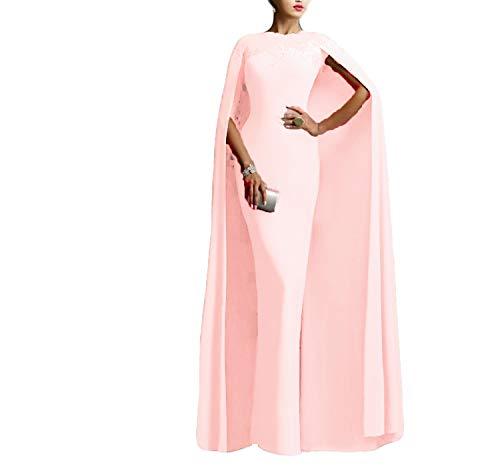 Ellenhouse Women's Long Mermaid Formal Gown Prom Evening Dresses with Cape EL349 Pale Pink -
