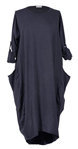 TEXTUREONLINE - Vestido - Manga Larga - para mujer azul marino