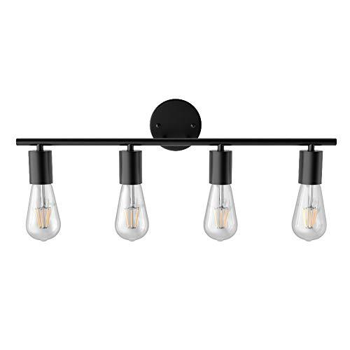 Ralbay Bathroom Vanity Light Fixtures-4 Light Industrial Matte Black Wall Sconce, Vintage Edison Wall Lamp Lighting…