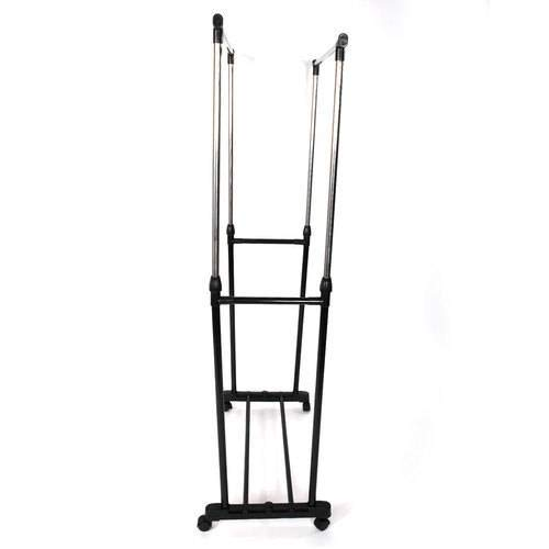 SL&VE Dual bar Vertical Horizontal Stretching Stand Clothes Rack with Shoe Shelf-Black by SL&VE (Image #3)