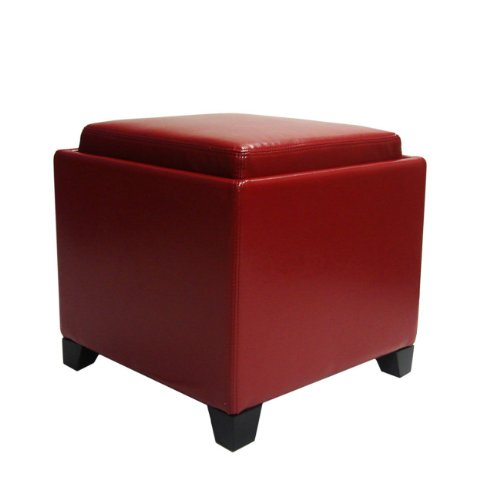 Plutus Contemporary Storage Ottoman with Tray, Red