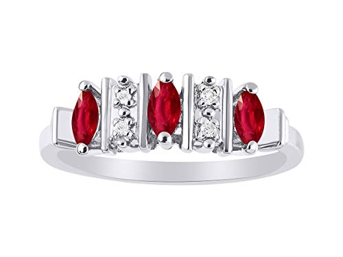 Marquise Ruby & Diamond Ring Set in Sterling Silver -