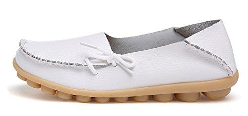 Venuscelia Dames Comfort Walking Office Platte Loafer Wit