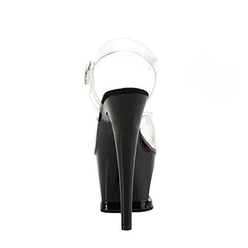 Pleaser Plateau Sandale mit Transparenten Knöchelriemen, Absatz und Ausgeschnittene Plattform in Schwarz mit Strassstein Herz in Rot Vegan Moon-7