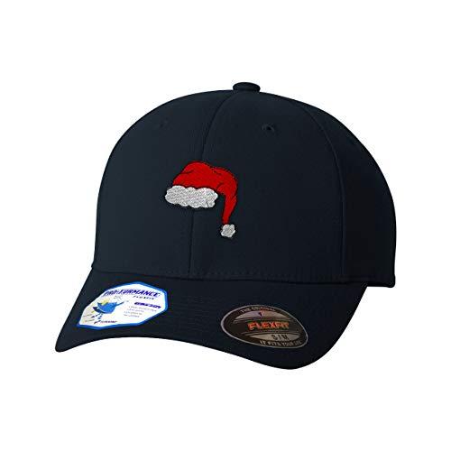 Flexfit Baseball Cap Santa Hat Embroidery Design Polyester Hat Elastic Dark Navy Small/Medium Design Only -