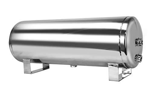 Port Air Tank - Mototeks, Inc. 5 Gallon Chrome Steel AIR Tank with 4 Ports + Drain Port for AIR Suspension AIR Ride AIR Horn AIR Bags (Chrome)