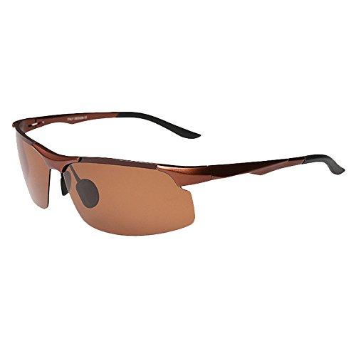 SZLINGKE Brand Polarized Sport Women men Riding Cycling Sunglasses Aluminum Magnesium Frameless Semi-Rimless Sunglasses Fishing Driving Night Vision EyeGlasses (Tea & - Square Face Best For Eyeglass Frames