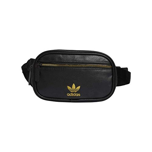 adidas Originals PU Leather Waist Pack, Black/Gold, One Size