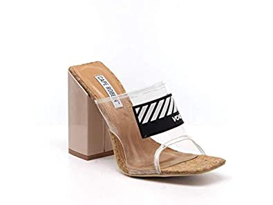 230a78be27 Amazon.com | CAPE ROBBIN Camryn Tinted Cutout Open Toe Footbed Slip On Mule  Chunky Block Heel | Mules & Clogs